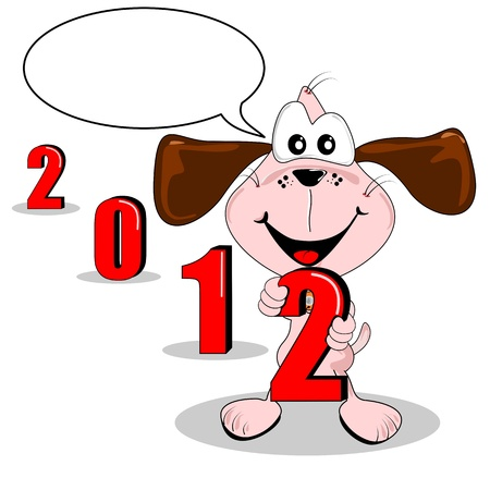2012 new year cartoon dog & speech bubble copy space Stock Vector - 11123437