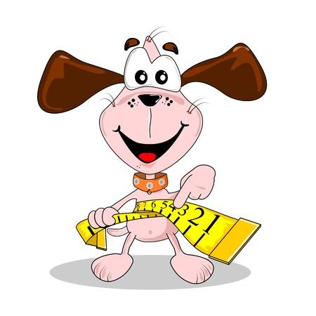 Un perro de la historieta y la cinta métrica en concepto de dieta para perder peso Ilustración de vector