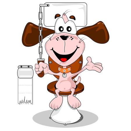 Cartoon hond zindelijk zittend op het toilet
