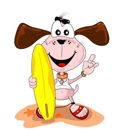 surf board: Perro de dibujos animados con la tabla de surf en la playa