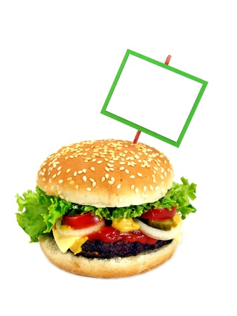 A cheeseburger with a green framed blank sign Stock Photo - 11123455