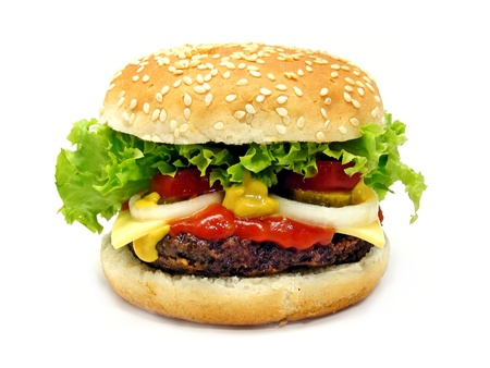 A cheeseburger isolated on a white background photo