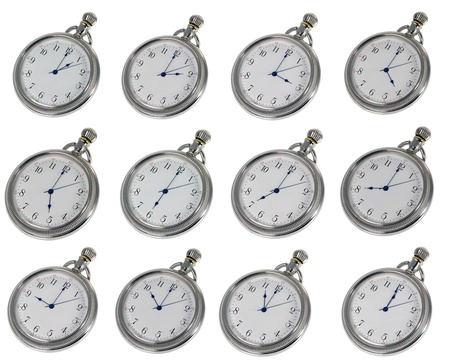 five to twelve: 12 pocket watches each with the hourly times