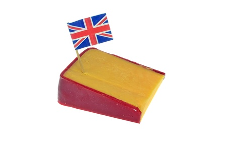 cheddar: A wedge of cheddar cheese with British flag Stock Photo