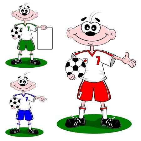 futbol soccer: Cartoon boy wearing a football soccer strip holding a ball