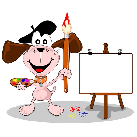 blank canvas: cartoon dog artist with paintbrush and easel with copy space