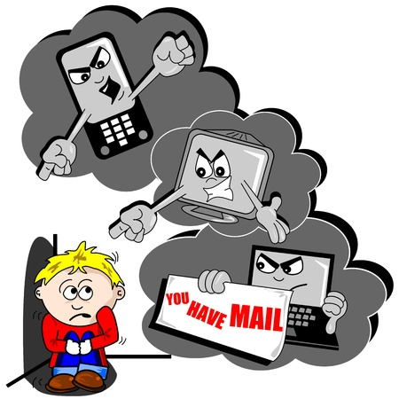 threats: Cyber bullying cartoon with scared child mobile phone and PC
