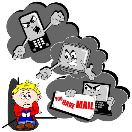 scared child: El acoso cibern�tico de dibujos animados con el tel�fono m�vil de ni�o asustado y PC