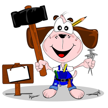 do it yourself: A do it yourself DIY cartoon dog with hammer and nails