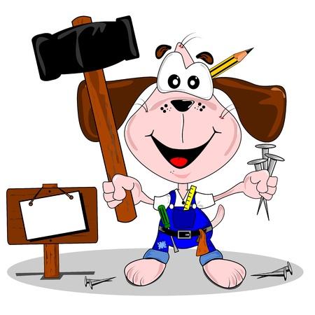 Een doe het zelf doe-het-cartoon hond met hamer en spijkers