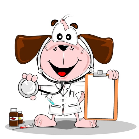 hospital fees: A cartoon dog doctor or vet with stethoscope & blank clipboard