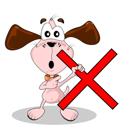 Wrong red cross being held by a cartoon dog Vector