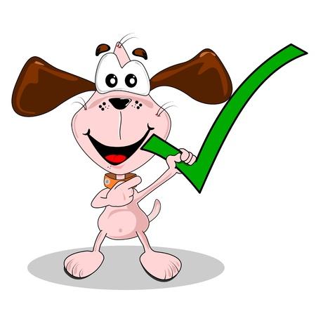 tick: Oui coche verte �tant d�tenu par un chien de dessin anim�