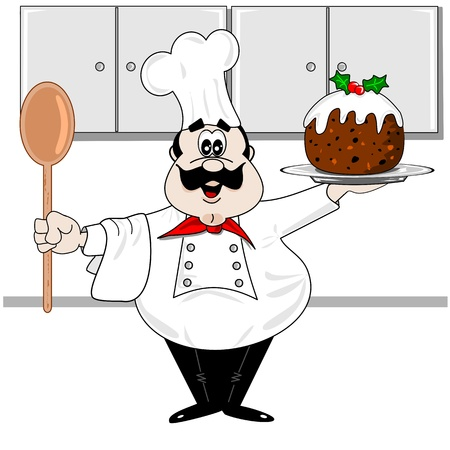 christmas pudding: Cartoon chef in the kitchen with a Christmas pudding