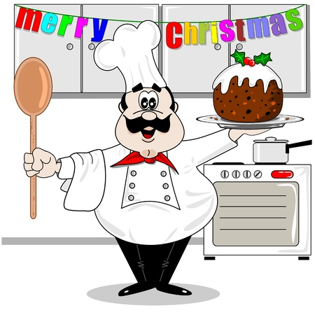 pudding: Cartoon chef in the kitchen with a Christmas pudding