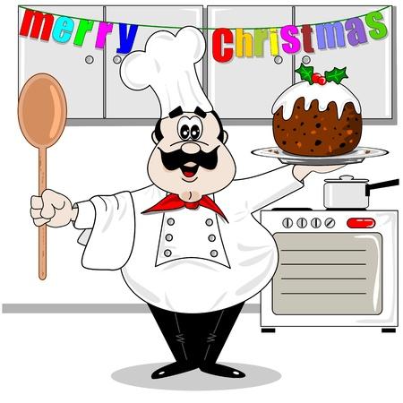 Cartoon chef-kok in de keuken met een Christmas pudding
