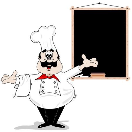 Cartoon chef kok met lege recept menu krijtbord