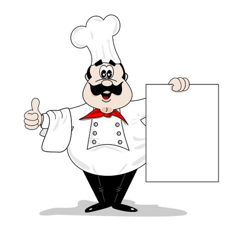 Chef de dibujos animados cocinero con tablero de menú de recetas en blanco
