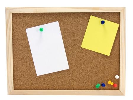 corkboard: A wooden pin board & blank note pinned on it with copy space