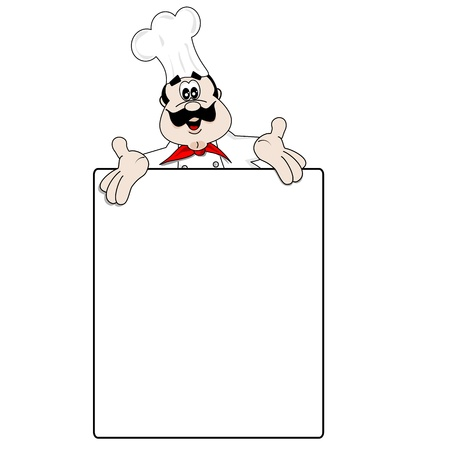 Cartoon chef and blank menu recipe board with copy space