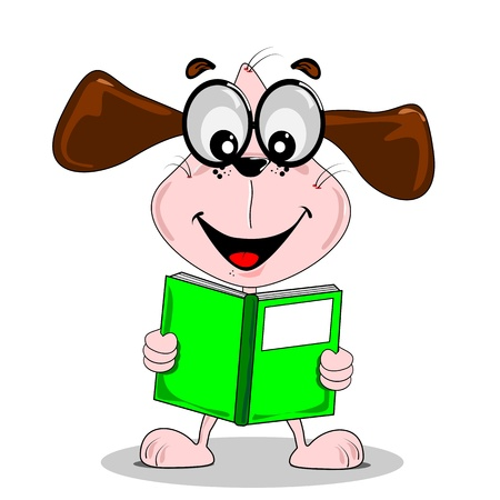 Cartoon dog with glasses reading a book with copy space