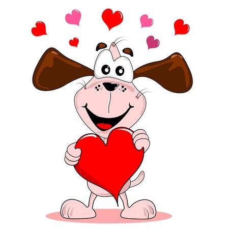 Cartoon Hund hielt einen großen roten Herz