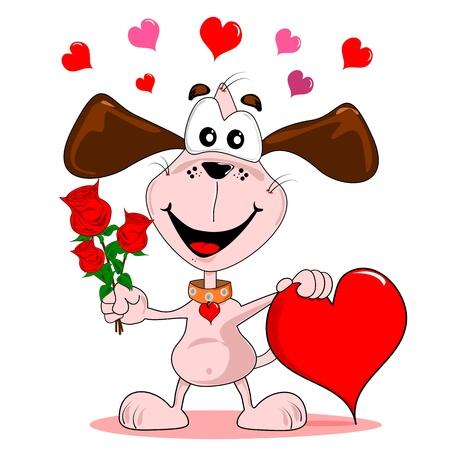 Ein Comic-Hund mit roten Rosen & Liebe Herz