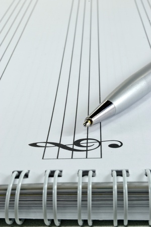 note books: Blank sheet music with ballpoint pen