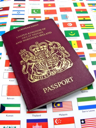 A British passport lying on a page of country flags photo