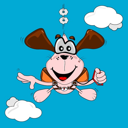 A cartoon dog freefall parachuting on a blue sky background Ilustrace