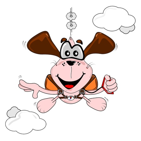 freefall: A cartoon dog freefall parachuting on a white background Illustration