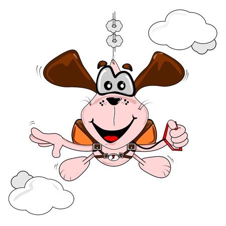 caida libre: Un perro de la historieta de paracaidismo de ca�da libre sobre un fondo blanco