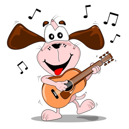 Un perro de dibujos animados tocando música y bailando con una guitarra