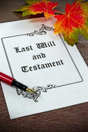 testament: Una �ltima voluntad y testamento de concepto con pluma estilogr�fica