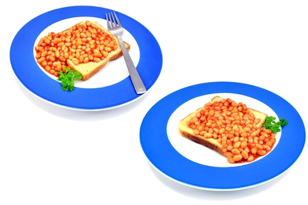 baked beans: 2 images of beans on toast isolated on white background Stock Photo