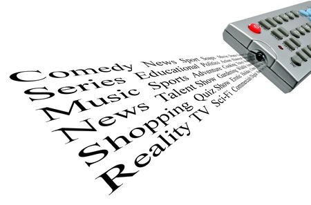 telly: TV remote control & word cloud of television themes Stock Photo