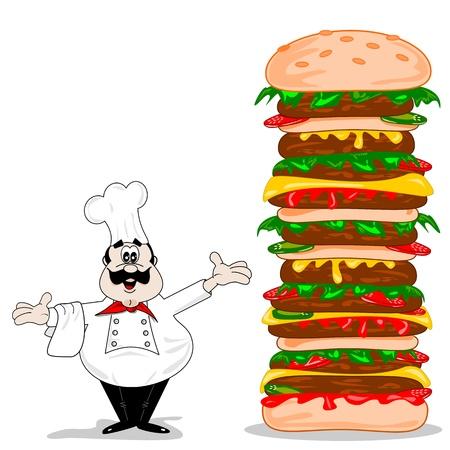 Een cartoon chef-kok met een gigantische XXL cheeseburger