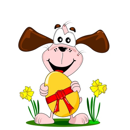 cartoon egg: A cartoon dog holding a large Easter egg with red bow