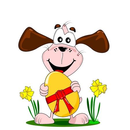 huevo caricatura: Un perro de la historieta que sostiene un gran huevo de Pascua con el arco rojo