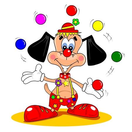 clown cirque: Un chien de bande dessinée habillé comme un clown, balles de jonglage Illustration