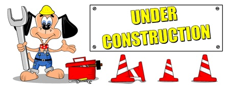 building site: Cartoon dog and tools with under construction sign billboard