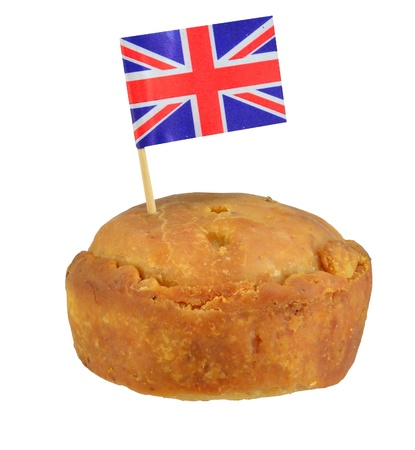 A British pork pie with flag on white background photo