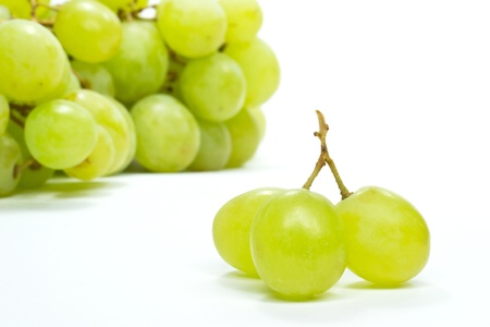 Selection of grapes on a white background