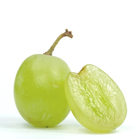 Macro image of grapes on a white background