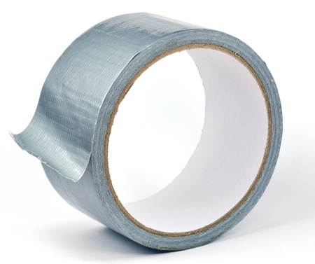 duct tape: A roll of silver duct tape on a white background