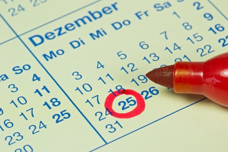 december 25th: German December 25th 2012 circled in red on calendar Stock Photo
