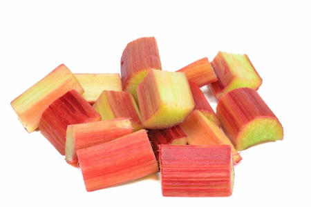 rheum: Fresh copped pieces of rhubarb on a white background Stock Photo