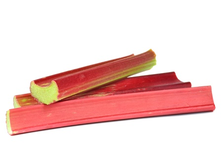 Fresh rhubarb sticks on a white background with copy space Stock Photo - 13690003