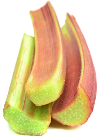 Fresh rhubarb sticks on a white background Stock Photo - 13943695