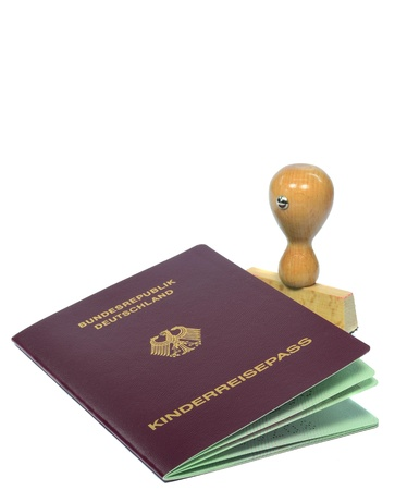 A German passport for a child with small rubber stamp photo